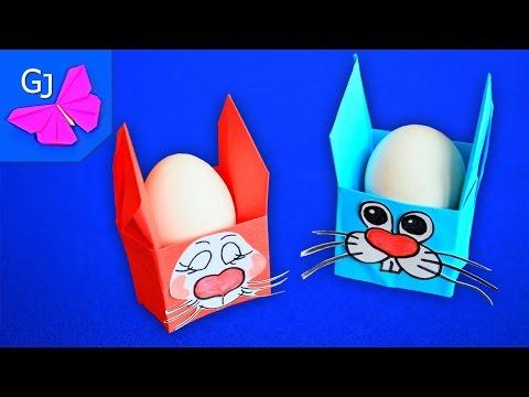 Оригами коробочка Пасхальный Заяц из бумаги