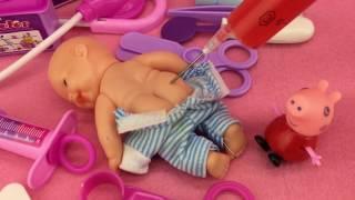 小猪佩奇当医生给小宝宝治病打针 过家家游戏