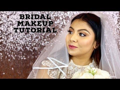 Wedding makeup tutorial 2019| Western Bride| DIY Bridal Dewy Makeup & Hairstyle