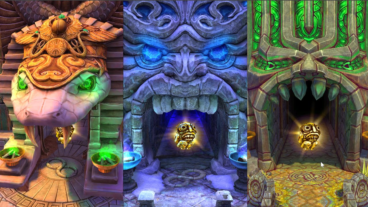 Temple Run All Maps Blazing Sands Frozen Shadows And Sky Summit - How far did i run map