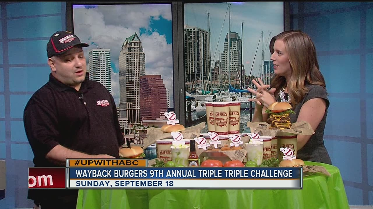 National Cheeseburger Day is Monday and Wayback Burgers dares you to eat a big one. Fast.