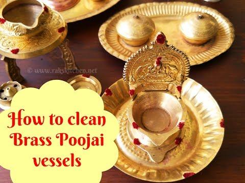 How to clean brass pooja items, pithalai vilakku, poojai items