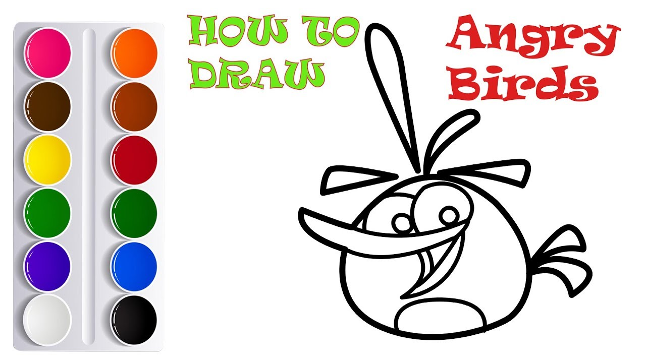 Coloring 9 Cute ANGRY BIRDS | Painting for toddlers and drawing for ...