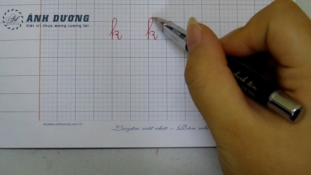 Cách viết chữ k thường đúng và đẹp nhất - Tập viết chữ k - YouTube
