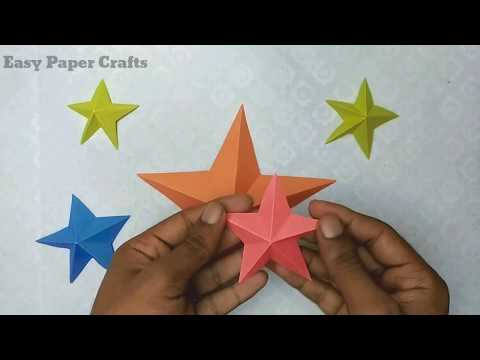 How to make 3d paper star - Paper origami tutorial - Easy paper Crafts