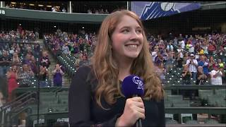 Mady McGraw Sings the National Anthem at the Colorado Rockies Baseball Game