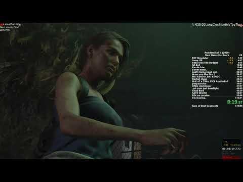 Resident Evil 3 2020 - Speedrun No Save/No Death Hardcore New Game 1:03:01