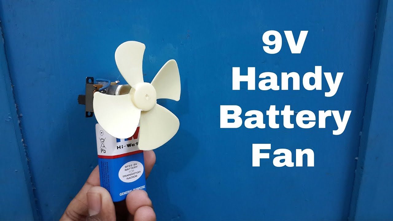 How to Make A Homemade 9V Handy Battery Fan - Cooler Fan - YouTube