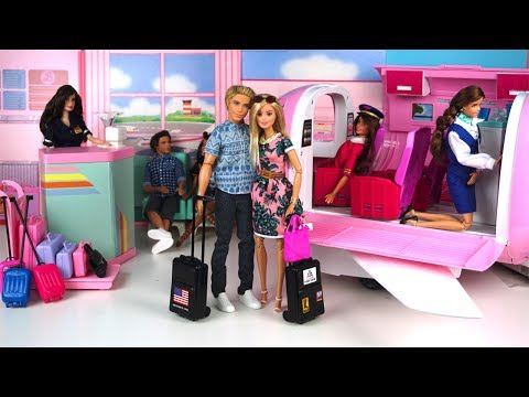 Thumbnail: Barbie & Ken Airplane Travel Routine - Barbie Vacation Pink Glamour Jet - Barbie Packs her Suitcase