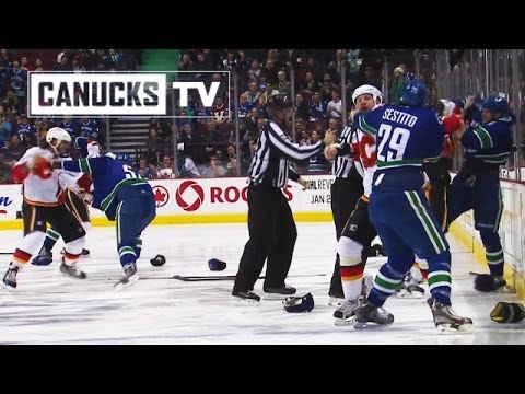 Canucks vs Flames Line Brawl (Jan. 18, 2014)