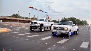 Big turbo First Gen and Second Gen Cummins on American Force wheels full a town with black smoke!