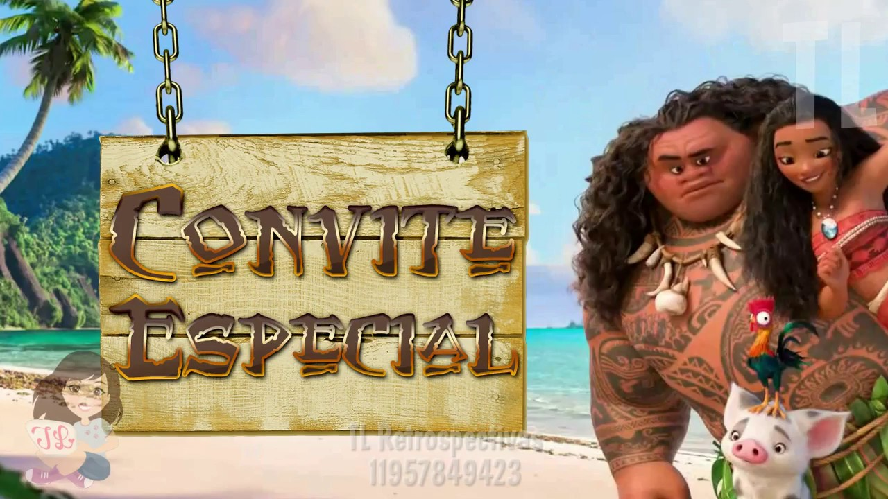 Convite Animado Virtual Moana Youtube