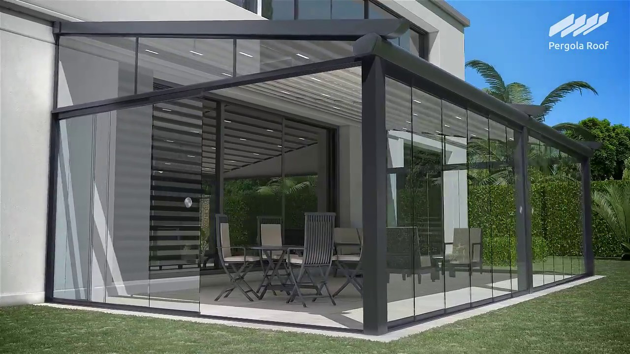 pergola roof and sliding glass doors with motorized screen