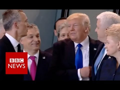 Trump pushes past Montenegro's PM - BBC News