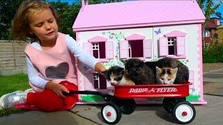 Наши котята Funny baby Little Kittens в Домике для кукол мультики про котят Kid