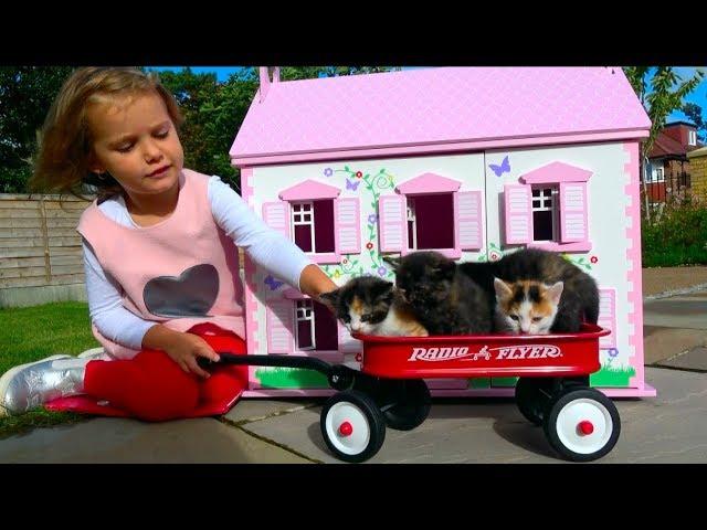 Наши котята Bad baby Little Kittens в Домике для кукол мультики про котят Kid's Morning routine
