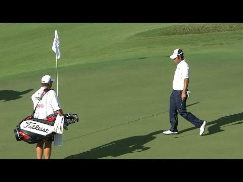 Hideki Matsuyama's chip shot rolls in for birdie at Hero