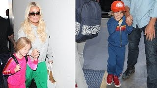 Jessica Simpson Dons Baggy Track Pants While Catching A Flight With Her Adorable Little Ones