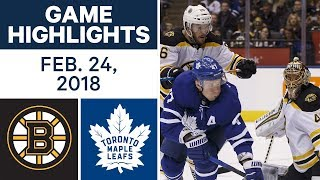 NHL Game Highlights | Bruins vs. Maple Leafs - Feb. 24, 2018