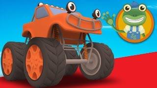 Max, El Monster Truck Visitas Gecko Garaje | Camiones Monstruo para los Niños