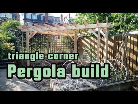 Pergola build, triangle corner pergola built with pressure treated softwood timber