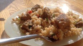 Вкусный ужин! Жареный рис со свининой и овощами!