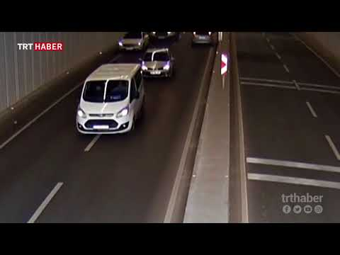 Tünelde ters yönde ilerleyen otomobil, tehlikeli anlar yaşattı
