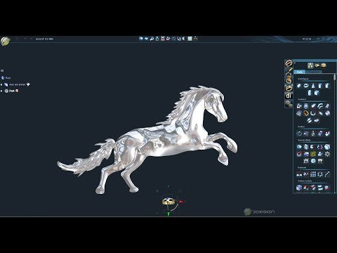 Demo 3Design v9 & Retopology, Design Horse Relief Jewelry