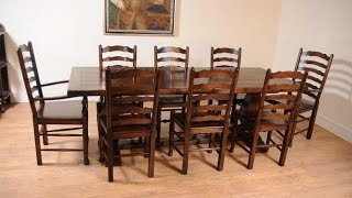 Oak Kitchen Dining Set Ladderback Chairs