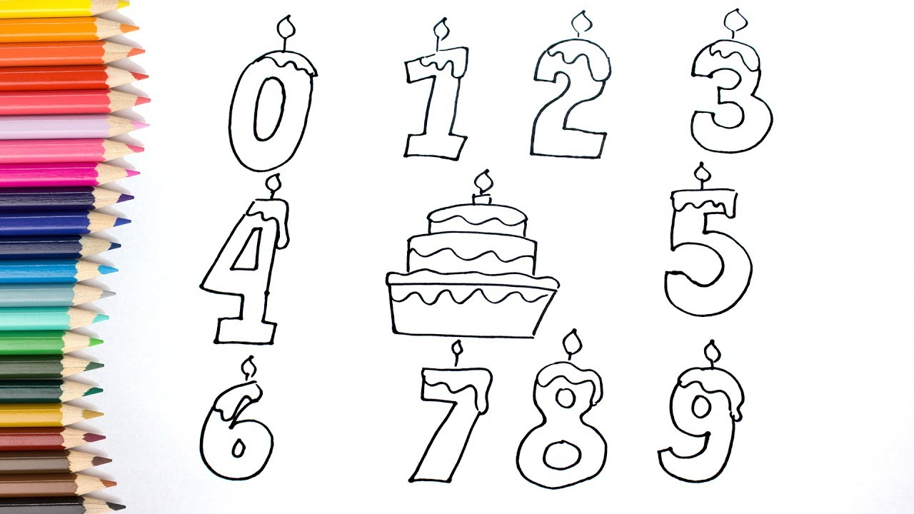 How To Draw Numbers Coloring Pages Kids Songs Learn Drawing Art
