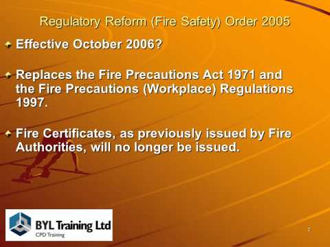 Reg Reform (Fire Safety) Order 2005