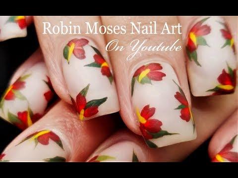 Lush Nude Matte Polish with red Flower Nails | DIY Nail Art Design Tutorial thumbnail