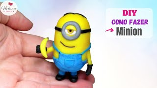 DIY tutorial minion biscuit, minion porcelana fria, minion cold porcelain - Como fazer minions