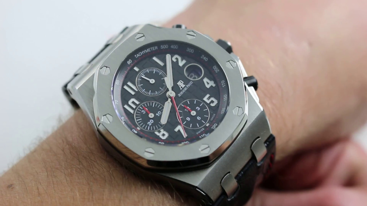 Audemars piguet royal oak offshore chronograph ref 26470st oo watch review youtube for Royal oak offshore vampire