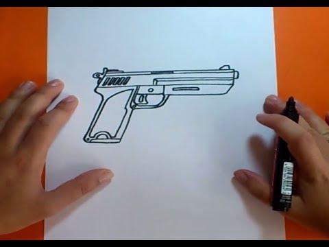 Como dibujar una pistola paso a paso | How to draw a gun