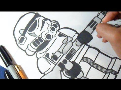 como desenhar stormtrooper lego de guerra nas estrelas youtube