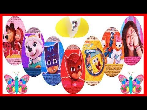 8 Huevos sorpresa PJ MASKS Patrulla Canina Gatuno Masha Bob Esponja Soy Luna Disney surprise eggs