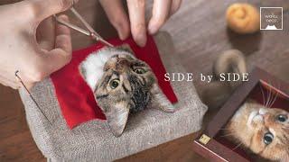 羊毛フェルトで猫を作る制作過程 6 - Needle felting Cat