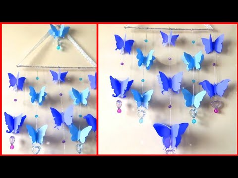 Paper butterfly wind chimes || butterfly wall hanging || how to make DIY