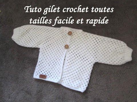 Bevorzugt TUTO GILET CROCHET GRANNY TOUTES TAILLES Cardigan knitting crochet  HL45