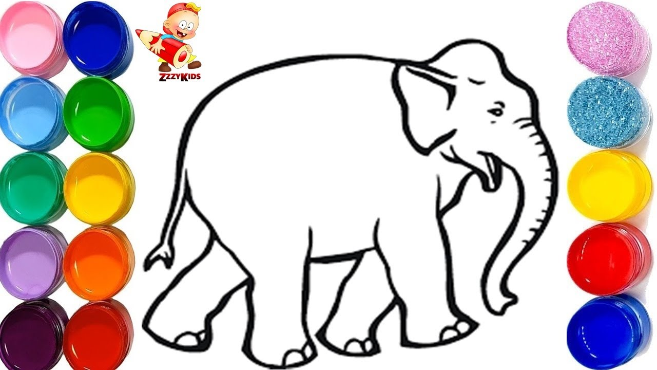 Learn How to Draw & Colour An Elephant & A Baby Turtle - Animals ...