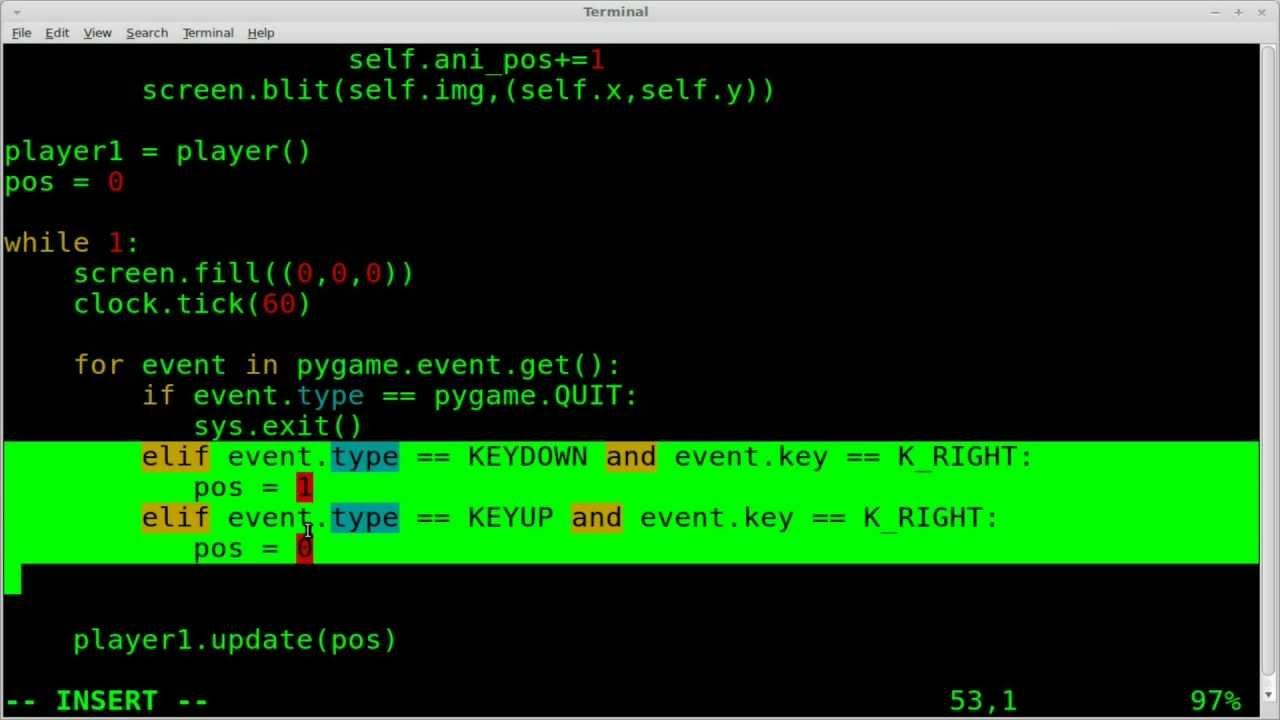 pygame sprite animation walk loop python linux 2