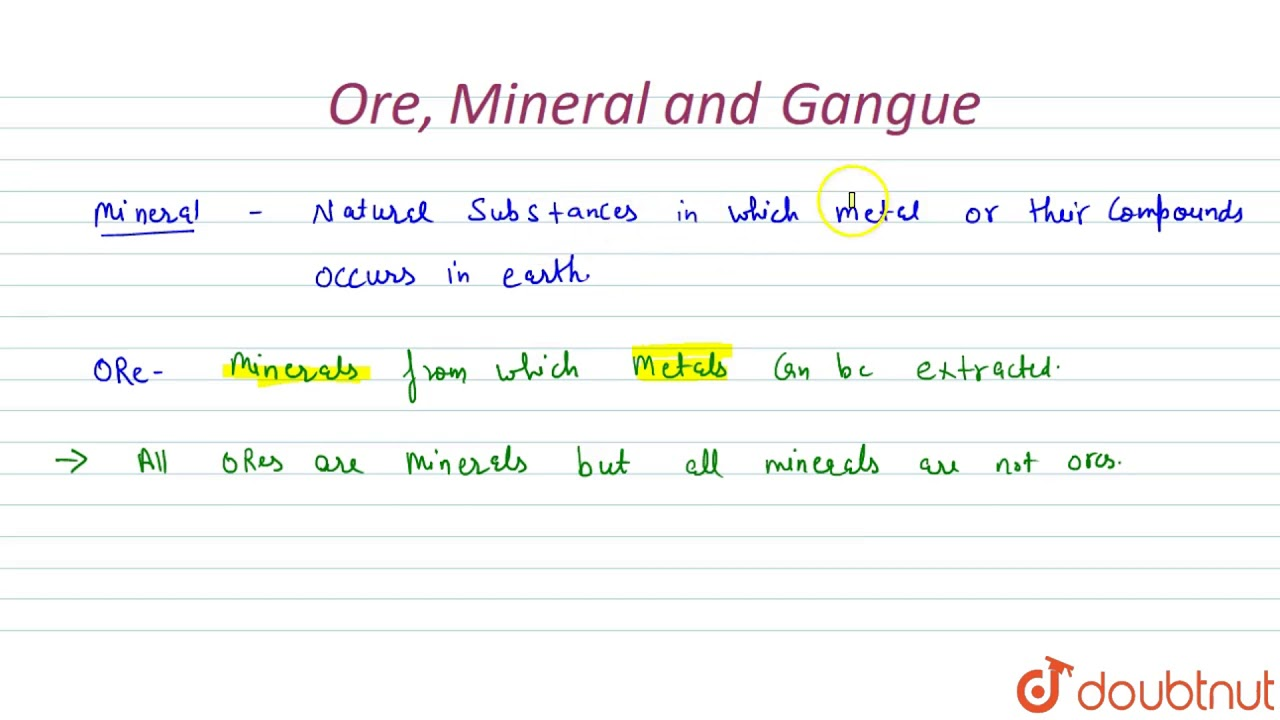 Define Ore Mineral And Gangue Youtube