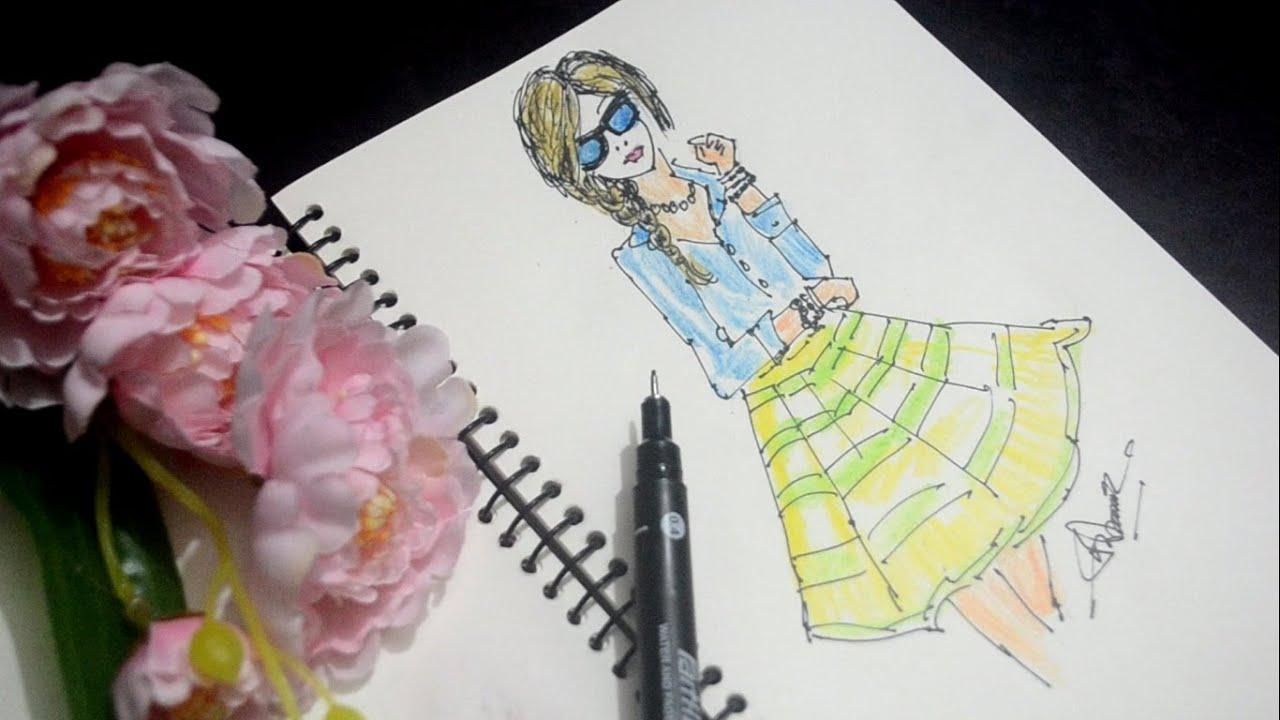 Hand drawn stylish woman in sunglasses    Beautiful Fashion Model Sketch    Fashion art.