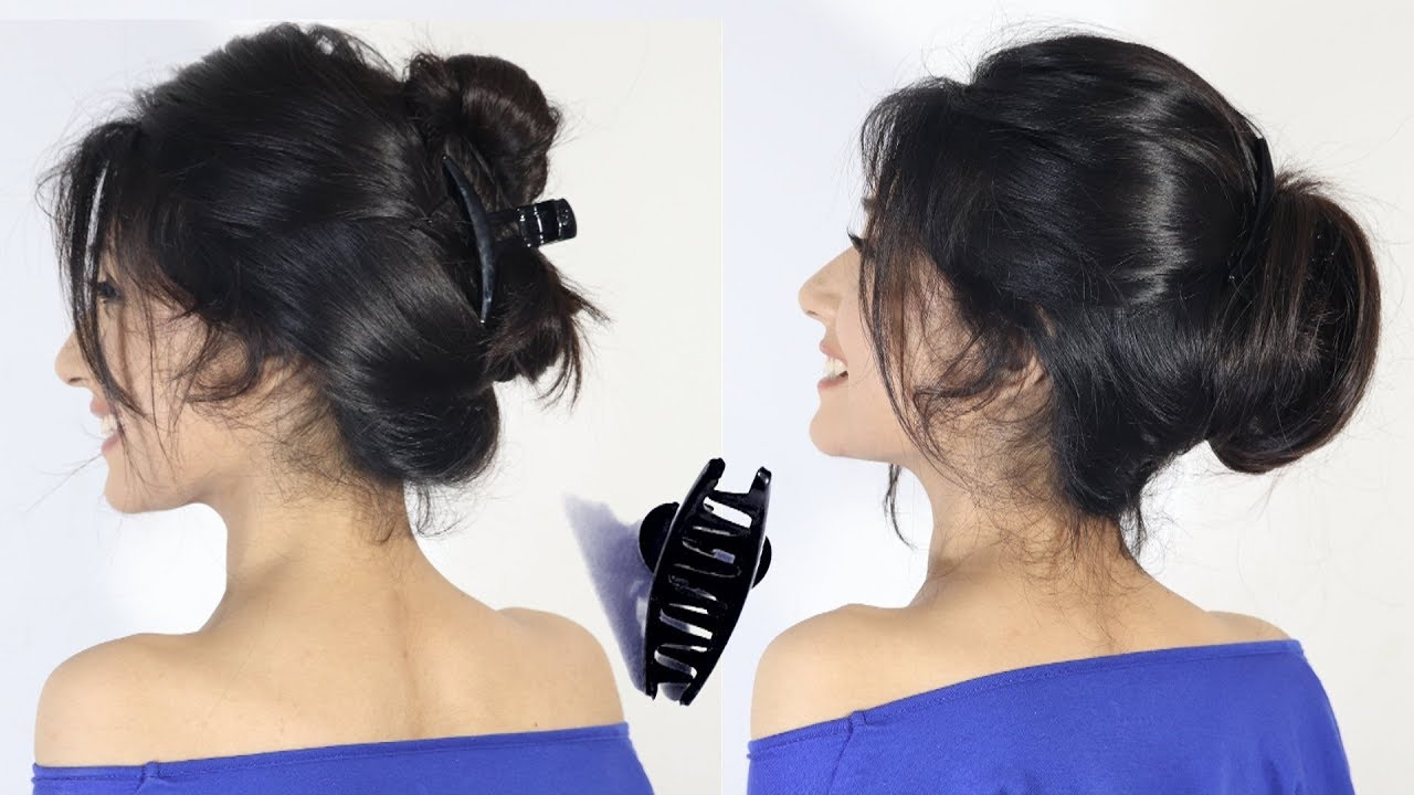2 Easy Hairstyle Bun With Clutcher New Bun Hairstyles Easy Hairstyle Hair Style Girl Youtube
