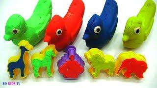 Learn Colors with Play Doh Animal Molds Elephant Lion Giraffe Seal Fun & Creative for Kids BoKidsTV
