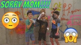 SPRAY PAINT DISASTER! KIDS GRAFFITI THE BASEMENT!!! | Brock and Boston