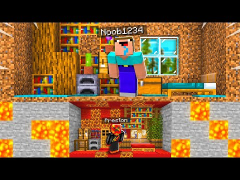 I Built a TINY House Under Noob1234's Minecraft House!