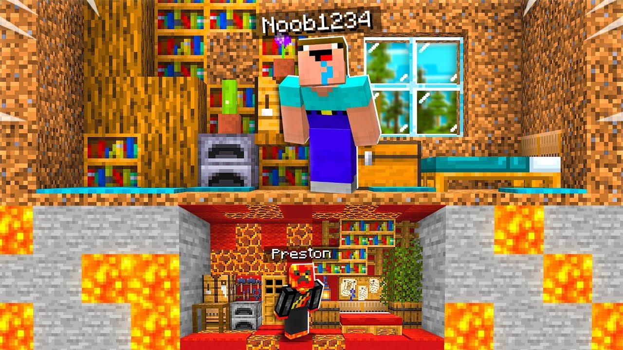 I Built a TINY House Under Noob1234's Minecraft House! thumbnail