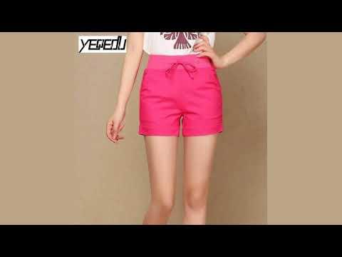 #0605 2018 Linen cotton shorts women Summer Elastic waist Plus size 5XL Candy color Feminino Casual